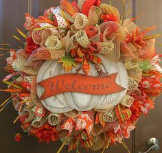 Fall Deco Mesh Wreath - Autumn Mesh Wreath - Thanksgiving Mesh Wreath - Fall Wreath - Autumn Wreath - Fall Mesh Wreath - Welcome Wreath - Autumn Deco Mesh Wreath - Pumpkin Wreath - Thanksgiving Wreath Invite your guests in with this beautiful Fall Foliage Welcome Wreath! Click on ZOOM to see the detail. I made this wreath with burlap deco mesh in lush Fall colors. I added beautiful orange pumpkin ribbon, lots of Fall plaids and all the trimmings! In the center is a large wooden Welcome...