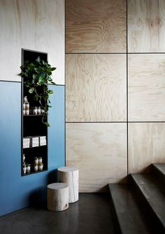 14 Plywood Projects That Look Chic and Sophisticated (Really) wall in lobby could be clad with limed oak veneer plywood and stainless steel division channels between Plywood Interior, Interior Walls, Modern Interior, Interior Design, Retail Interior, Wall Cladding Interior, Oak Veneer Plywood, Plywood Walls, Osb Plywood