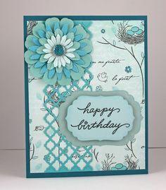 Birthday Card - Handmade Card - Aqua & Turquoise - Flower - Feminine - woman, women, wife via Etsy