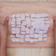 Cut up a sheet of clear glycerin ($8.99) into small cubes.