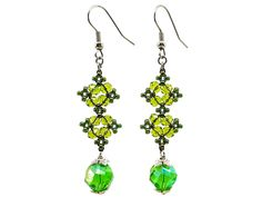 Use coupon 10OFFTLBCJ for 10%OFF on $10.00 or more Use coupon 20OFFTLBCJ for 20%OFF on $20.00 or more ----- Free Shipping Jewelry SALE Handmade Beaded Earrings Green Olive Beaded Jewelry Faceted Silver Crystal Dangle Earrings (Item number LBE001) by TheLoveBabyCompany on Etsy