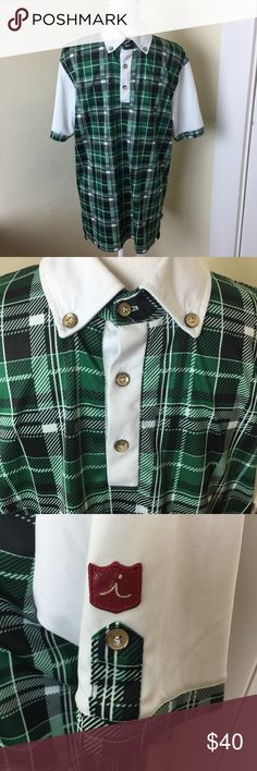 Iliac Golf by Bert Lamar Polo Shirt Green Tartan L Iliac Golf by Bert Lamar Polo Shirt Green Tartan Plaid L Men Masters  Green Tartan Plaid  Size  Large  Shirt in great preowned condition with no rips, tears, or stains.  See photos iliac Shirts Polos