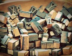 good old letters on wooden blocks