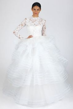 Shop-A-Matic -- Wedding Dresses -- Oscar de la Renta Lace Long Sleeve Gown With Ruffle Tiered Skirt