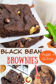 These black bean brownies are fudgy delicious and can be ready in only about 30 minutes! #veganbrownies #blackbeanbrownies Delicious Vegan Recipes, Healthy Dessert Recipes, Whole Food Recipes, Delicious Desserts, Meatless Recipes, Bar Recipes, Free Recipes, Cookie Recipes, Vegan Sweets