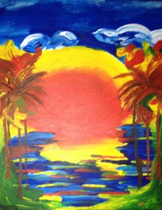 Colorful hand painted water scene