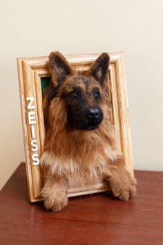 Custom Needle Felted German Shepherd Picture Frame by heartfeltcanines on DeviantArt Todays little spoonful of sugar *wink* A recent commission of a goldendoodle puppy in dollhouse miniature scale. Freehand sculpture base of BeeSputty clay (abs. Needle Felted Animals, Felt Animals, Sleeping Fox, German Shepherd Pictures, German Shepherds, Felt Pictures, Needle Felting Tutorials, Felt Dogs, Wool Art