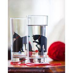 Cat and Yarn Glassware