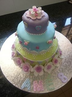 Shabby chic girly birthday cake tea party roses flags hearts three tier cake green blue purple beads pearls