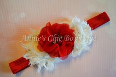 Ivory and Red Baby Headband Valentines by AnniesChicBowtique