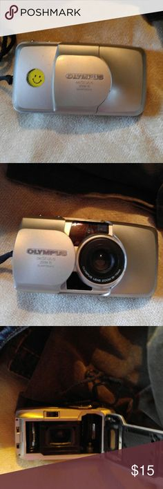 Olympus 60 Stylus Camera  takes 35mm film Good condition Olympus 60 Stylus Camera with zoom lens and is a bounce back to waiting for pics to be developed and then if wanted scanner was used to put online.  The days of no SD Cards or SIM Cards.  No click and look at right away.  No more of GMA cutting grass off because she can't see anything. Red eye reduction was a huge deal.  And I have been using my phone for pics so long don't even  know if you can get 35mm film???  Days of no sd cards…