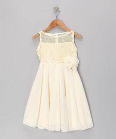 Gold Flower Lace Dress - Girls #zulily #zulilyfinds
