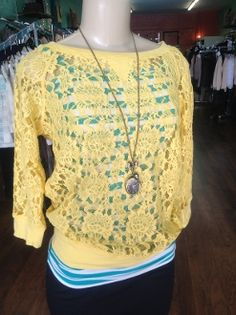 Yellow lace Top #bellaellaboutique #winwhatyoupin