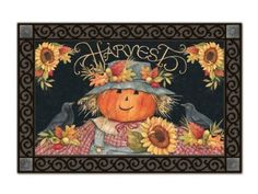 "Harvest Scarecrow Doormat by Magnet Works. $19.19. Use MatMates Doormats alone or with the decorative tray (as shown).. Made with non-slip rubber. Weatherproof for outdoor or indoor use.. NOTE: Tray sold separately. TRAY SIZE: 24"" x 36"".. Vibrant colors, fade-resistant doormats.. Doormat SIZE: 18"" x 30"".. Die-sublimated mat. Non-slip recycled rubber backing with a non woven polyester face. Weatherproof for indoor/outdoor use. Outer tray is sold separately - reference..."