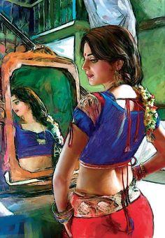 Punjabi Artwork of a beautiful Indian women seeing herself on the mirror.India/Pakistan art by Imran Zaib Indian Artwork, Indian Folk Art, Indian Art Paintings, Indian Artist, Music Drawings, Art Drawings, Indian Women Painting, India Art, Woman Painting