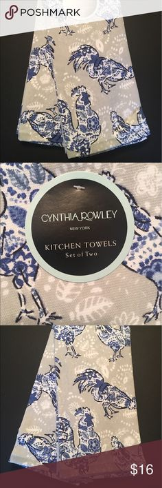 Cynthia Rowley Kitchen Towels Chickens Rooster Cynthia Rowley Kitchen Towels Set of 2 Blue Floral Chickens on Gray Background 100% Cotton NWT Cynthia Rowley Other