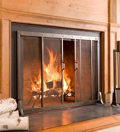 """Large Riveted Fireplace Screen, 44""""L x 6""""D x 32-1/2""""H 