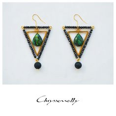 JEWELRY | Chryssomally || Art & Fashion Designer - Amazing emerald chrysocolla stones set in a luxurious gold and black geometric combo with gemstones and crystals. Fashion Art, Fashion Design, Emerald, Drop Earrings, Gemstones, Crystals, Amazing, Gold, Black