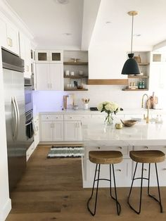 BECKI OWENS—A sneak peek into a current project today on the blog! A white and natural wood kitchen styled with Nordstrom.