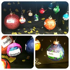 solar system models w/ Christmas ornaments and mod-podge...would be cool to have as decorations during solar system week