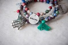 Beaded bracelet with howlite beads colored by SilviaWithLove