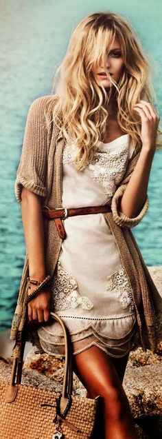 Boho Oversized Cardigan With White Belted Lace Dress Women apparel | Women's Clothes | Fashion | Style | Outfits | #clothes #fashion #women #jeans #shop | SHOP @ CollectiveStyles.com