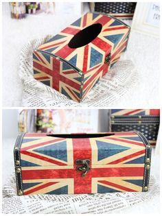 Handmade Wooden Tissue box Jack union pattern design par CharmParts, $28.50