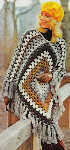 INSTANT DOWNLOAD PDF CROCHET PATTERN QUICK GRANNY SQUARES PONCHO RETRO VINTAGE    This vintage US crochet pattern for a quick granny squares