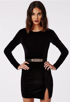 5e6087a4398b Style your black mini dress with strappy suede heels and a gold clutch bag  for that extra sparkle.The long sleeve of this style mean there s no need  for a ...