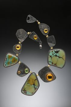Hughes-Bosca Jewelry   Necklaces of Chinese turquoise, hollow oxidized silver beads, citrine, tsavorite garnet cabochons set in 18k