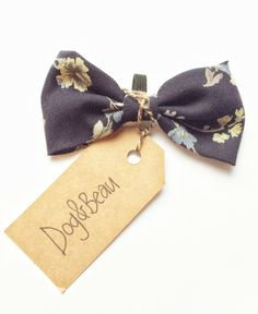 dog bow tie, Floral bow tie, navy blue bow tie, gifts for dogs, gifts for pets, vintage bow tie