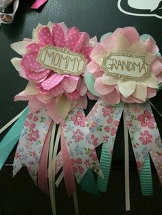 Mommy and grandma corsages for Emilys baby shower