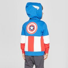 0cb890a1f4 Toddler Boys  Marvel Captain America Hooded Sweatshirt - Red White Blue 4T