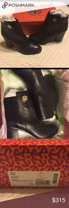 BRAND NEW Tory Butch booties Brand new short booties with stacked heal! Run true to size ! Tory Burch Shoes Ankle Boots & Booties