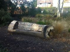 Garden seat tree outside log bench DIY