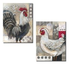 2 Popular Retro Rooster and Chicken Set; Kitchen Decor; Two 12x16in Poster Prints. Red/Black/White/Grey