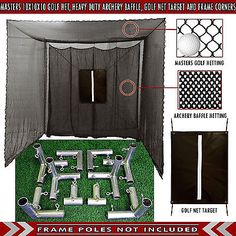 10u0027 Deep Large Practice Golf Net With Heavy Duty Black Baffle + Frame  Corner Kit