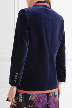 Gucci - Grosgrain-trimmed Velvet Blazer - Navy - IT48