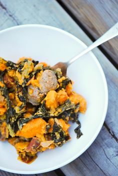 Sweet potato, sausage, and kale/chard/collard saute. Served with bulgur wheat. Make sure potato is nearly fully tender before adding greens #entree #GF #hearty