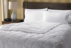 Perfect in every season, the Hampton duvet comforter is a cozy staple that's also feather-free. It's generously filled with fiber puffs that create a lightweight yet warm experience. To keep the fill evenly distributed, the soft microfiber shell is sewn in a baffle box design, which helps eliminate fluctuating temperatures that disrupt sleep. It's the only comforter you'll need and a ready complement to our stylish jacquard duvet cover.