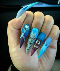 Simple Nail Art Designs That You Can Do Yourself – Your Beautiful Nails Disney Acrylic Nails, Disney Nails, Best Acrylic Nails, Acrylic Nail Designs, Nail Art Designs, Disney Halloween Nails, Cartoon Nail Designs, Animal Nail Designs, Halloween Acrylic Nails