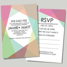 COLOURFUL LOVE   A modern & fun wedding invite & RSVP -  This invite looks so great in print!  Can be modified to suit your colour theme.  Let us personalise it with your details www.myweddinginvite.co.nz    #weddinginvitation #weddinginvite #myweddinginvite