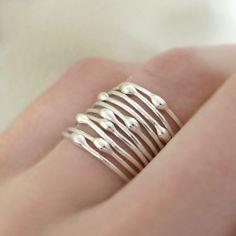 Conjunto de plata anillo de apilamiento lluvia de por esdesigns