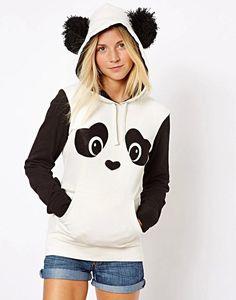 Panda Pom Pom Hoodie