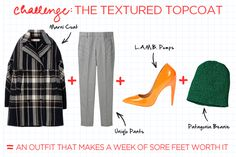 Fashion Math: Fashion Week Edition #refinery29  http://www.refinery29.com/how-to-dress-for-fashion-week#slide5  Marni Wool Check Coat, $990, available at Marni; Uniqlo Women's Ankle Length Pants, $19.90, available at Uniqlo; L.A.M.B. Jocelyn Pump, $295, available at Zappos; Patagonia Gnarwall Beanie, $39, available at Patagonia.
