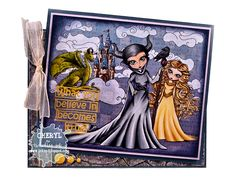 Ink Up: Maleficent card using 7 different Tiddly Inks Digital Stamps and Papers, layered in computer, and colored with Copics