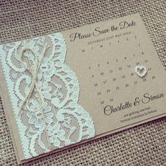 Rustic Lace Save the Date by Amorinvites on Etsy