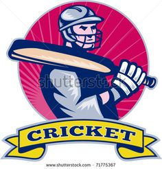 vector illustration of a cricket batsman with bat side view with sunburst in background done in retro style - stock vector Cricket World Cup, Retro Illustration, Side View, Retro Style, Royalty Free Images, Retro Fashion, Design, Retro Styles, Copyright Free Images