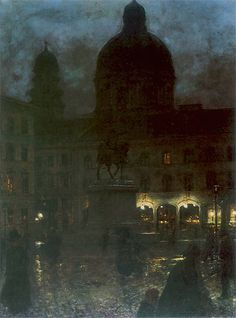Wittelsbach Square in Munich at Night - Aleksander Gierymski, 1890 Polish Oil on canvas, 67 x 52 cm. Moonlight Painting, City Painting, Old Paintings, Beautiful Paintings, Nocturne, Art Database, Night City, Art For Art Sake, Prince