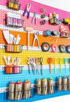 Pegboard Craft Room, Pegboard Garage, Pegboard Display, Pegboard Organization, Kitchen Pegboard, Ikea Pegboard, Painted Pegboard, Kitchen Shelves, Organization Ideas